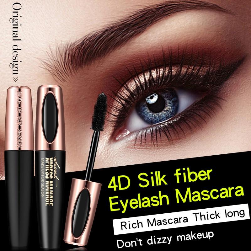 4D seda nueva fibra cepillo pestañas máscara mujeres cosméticos negro grueso rizado máscara impermeable pestañas cosméticos 2020 nuevo