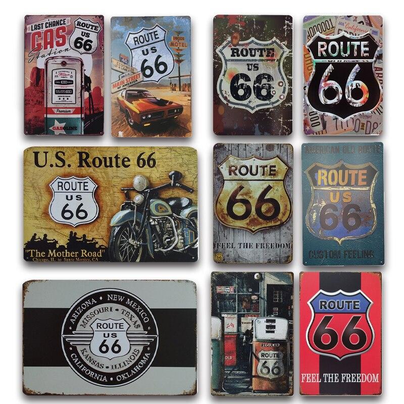 Nostálgico americano antiga rota 66 sinal de metal do vintage rota 66 estanho cartaz placa garagem adesivo de parede retro sinais de estrada decoração