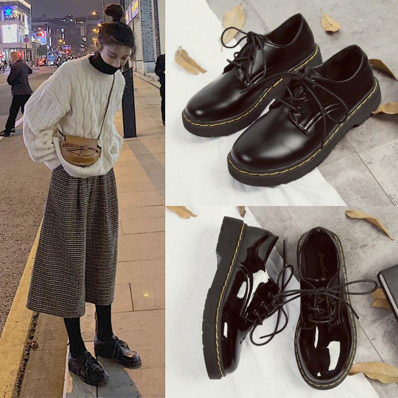 حذاء نسائي برباط من الجلد ، حذاء نسائي بنعل سميك ، حذاء بدون كعب ، حذاء بدون كعب ، مقاس كبير 35-43 ، 2020