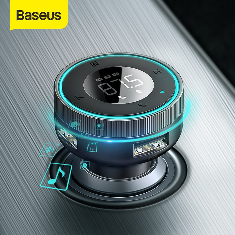 Baseus معالج إرسال موجات FM بلوتوث 5.0 سيارة يدوي Aux محول 3.4A المزدوج USB شاحن سيارة مشغل MP3 ناقل موجات الراديو