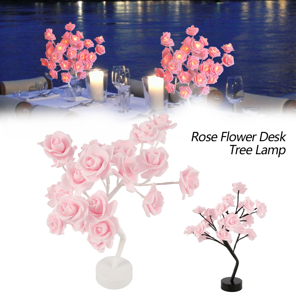 Rose Flower Tree Lamp Christmas Decorations Night Lights for Room Decor USB&Battery Powered Decorative LED Desk Table