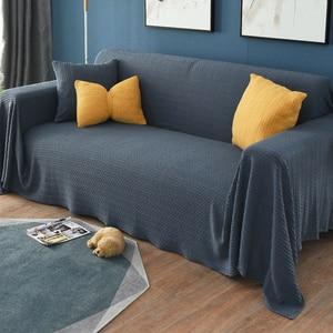 Gray Plaid Sofa Towel Sofa Blanket Fabric Cloth Dust Cover(340X180cm)