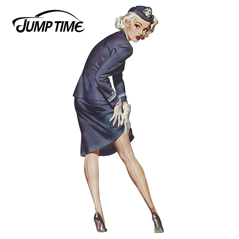 JumpTime 13cm x 6,4 cm azafata Sexy chica pin-up JDM vinilo calcomanía para ventana de automóvil limpiaparabrisas etiqueta de la pared