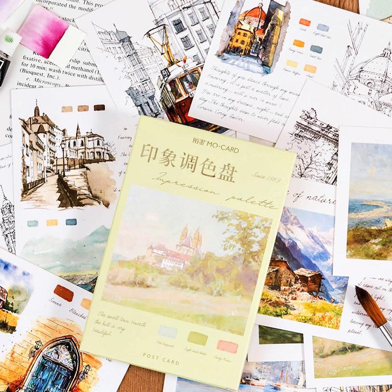 30 Pcs/Set Impression Palette Series Postcard Vintage Oil Painting Greeting Cards Message Card Stationery