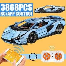 Nouveau 3868 pièces APP RC télécommande voiture technique Lamborghinis course modèle moteur puissance blocs de construction enfants jouet cadeaux de noël