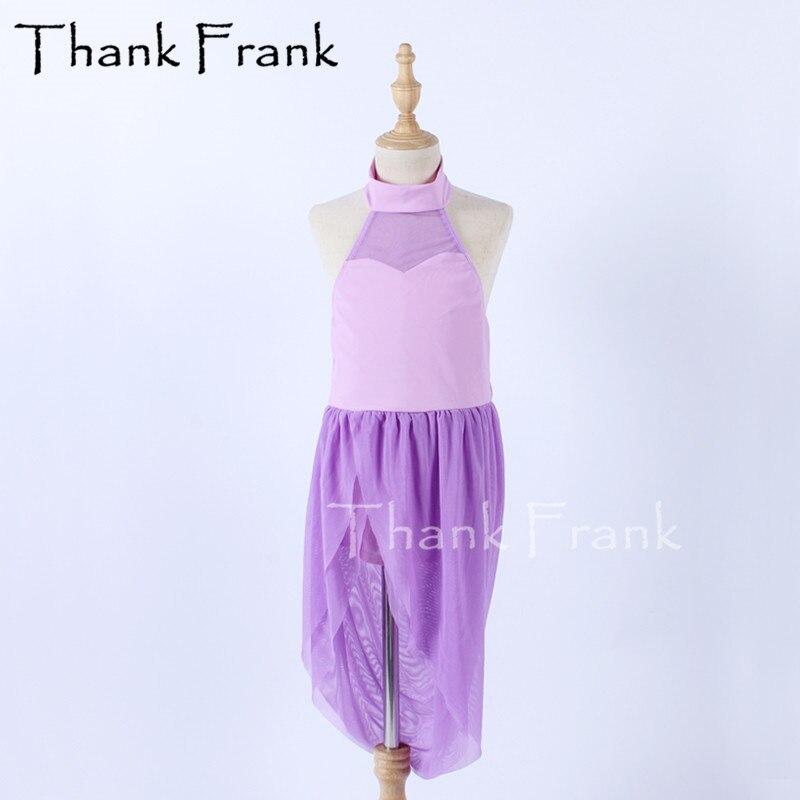 جديد التفكير فستان رقص الفتيات النساء البنفسجي شبكة فساتين الحديثة الاطفال الكبار أكمام غنائية ازياء المرحلة Dancewear C701