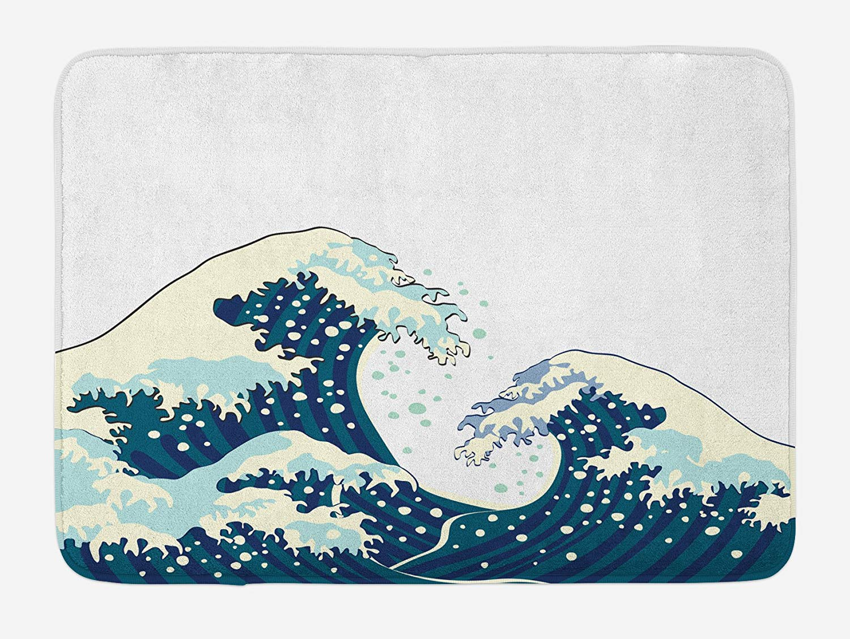 The Great Waves of Kanagawa Doormat Japanese Illustration Ocean Surfing Theme Aquatic Design Home Decoration Door Floor Mat Rugs