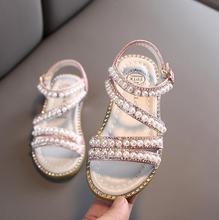 Girl Sandals Summer Fashion Kids Baby Girls Bling Rhinestone Princess Single Sandals For Little Big Girl's Shoes