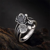 vintage luxury simple open flower rings for women men wild commemorative anniversary gift ring jewelry party dating accessories