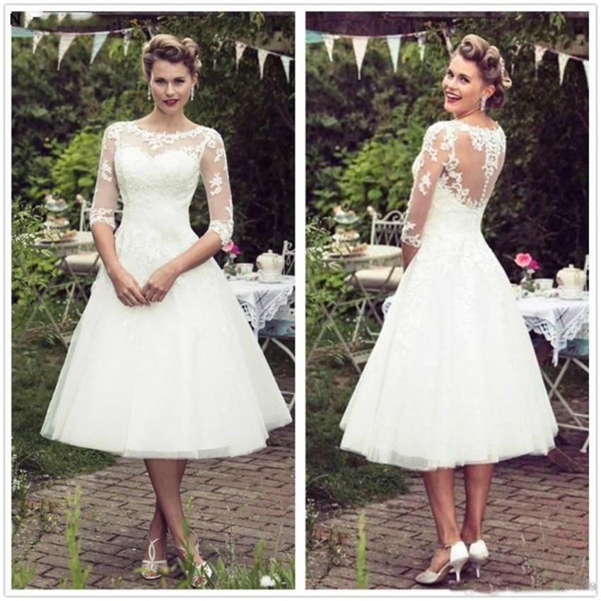 فستان زفاف عتيق من الدانتيل 50 ، نصف كم ، تول ودانتيل ، طول الشاي ، بأزرار