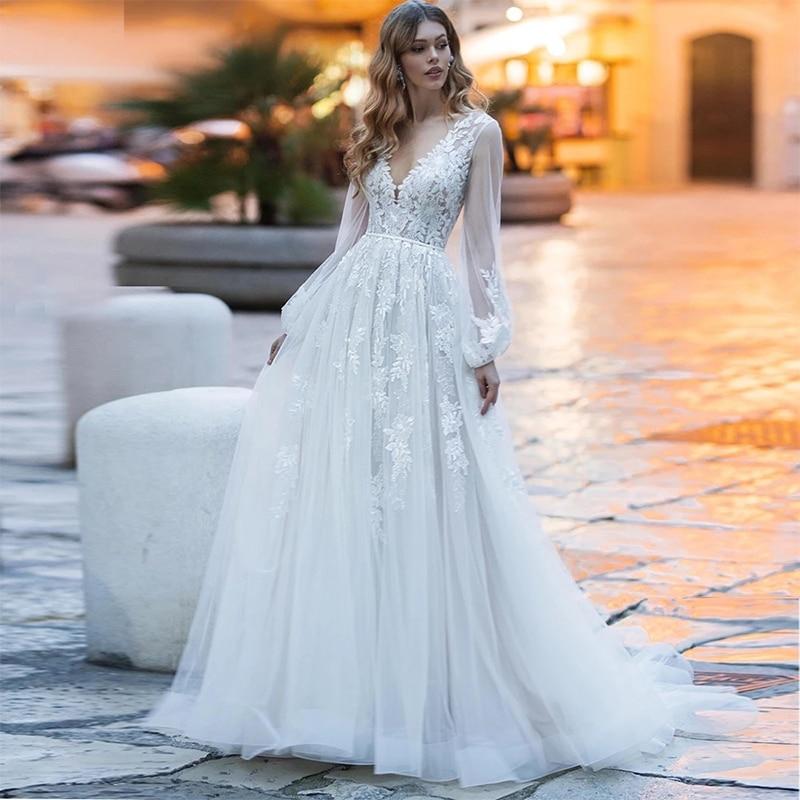 ChuYu 2021 Graceful Puff Sleeve Tulle Lace Vestido De Novia V-neckline Long A-line Back Button Wedding Dress Formal Occasion