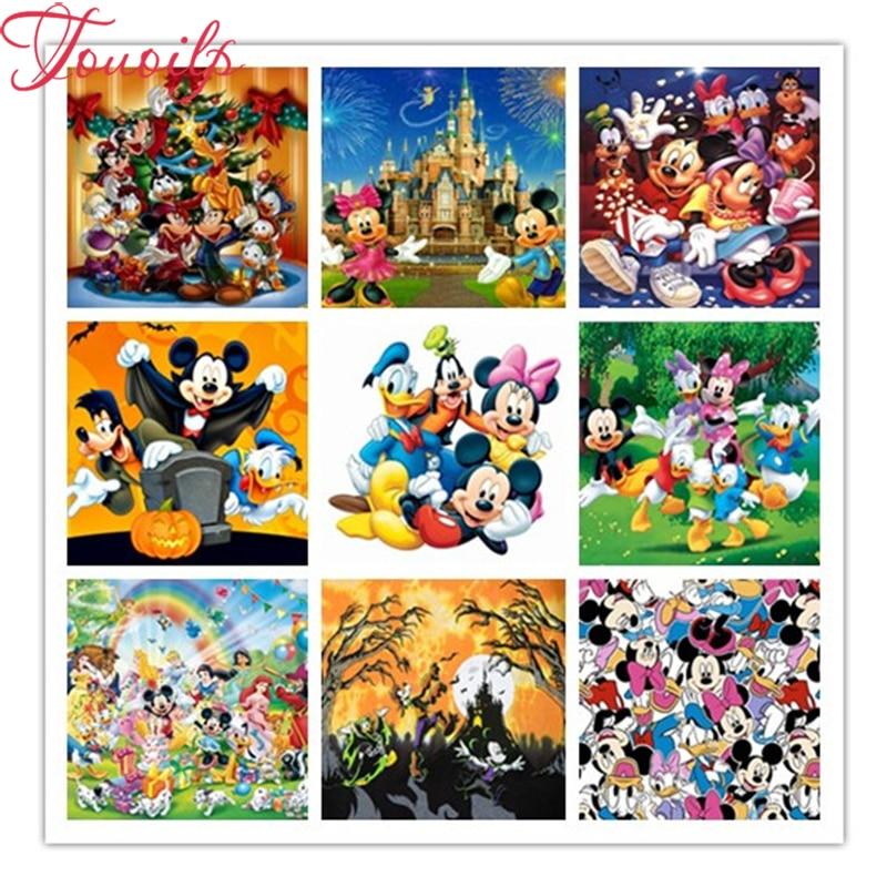 Touoipp diy diamante bordado cuadrado completo y redondo 5d dibujos animados Mickey Castle 5D diamante pintura punto de cruz decoraciones de fútbol