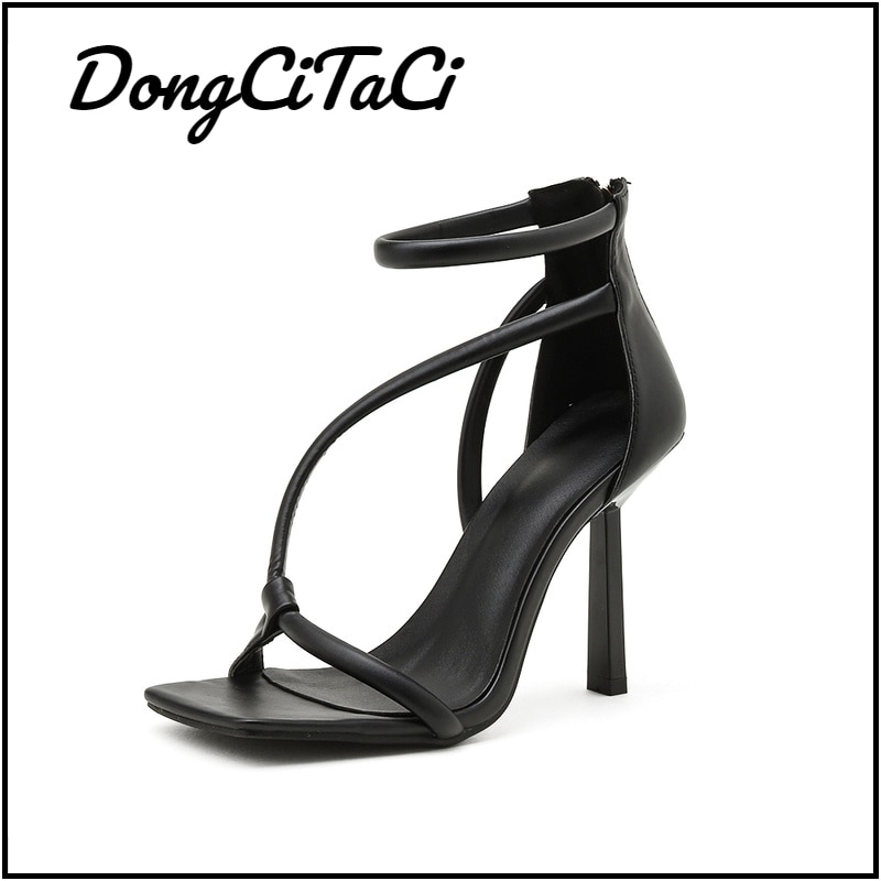 DongCiTaCi Wedding Women's Square Toe High Heels Sandals Sexy Party Pumps Sandals Shoes for Women Fa
