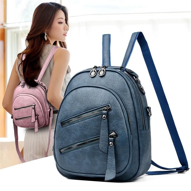 المرأة جلدية حقيبة ظهر صغيرة محفظة للإناث حمل على ظهره حقيبة كتف المدرسة الصغيرة السفر الظهر حزمة للمراهقات Packbag