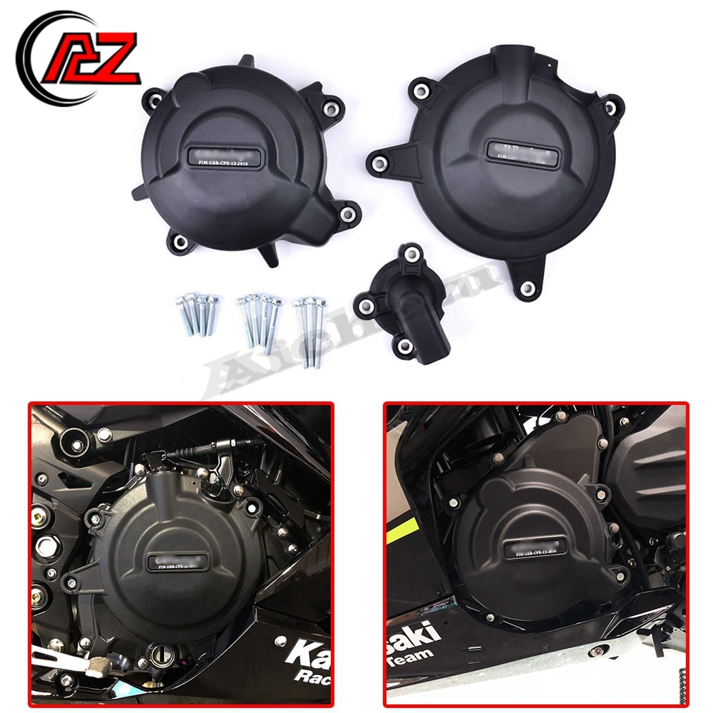 Motorcycle Engine Protection Water Pump Cover Kit Case for GB Racing Kawasaki NINJA 400 2018-2019