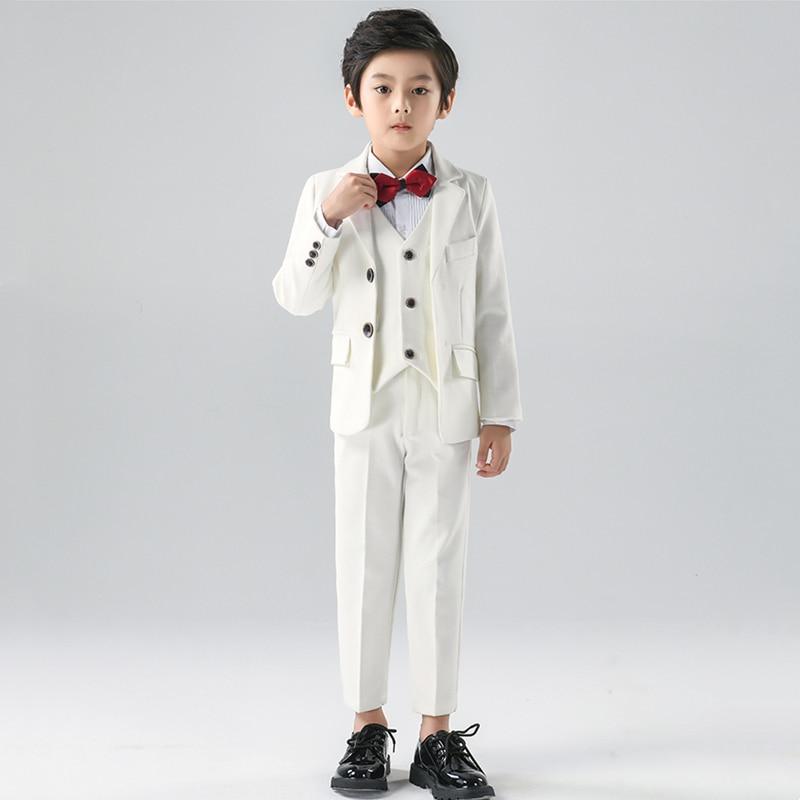 الأطفال الرسمي الأبيض فستان دعوى مجموعة زهرة الفتيان حفل زفاف أداء زي الاطفال السترة سترة السراويل قميص التعادل الملابس