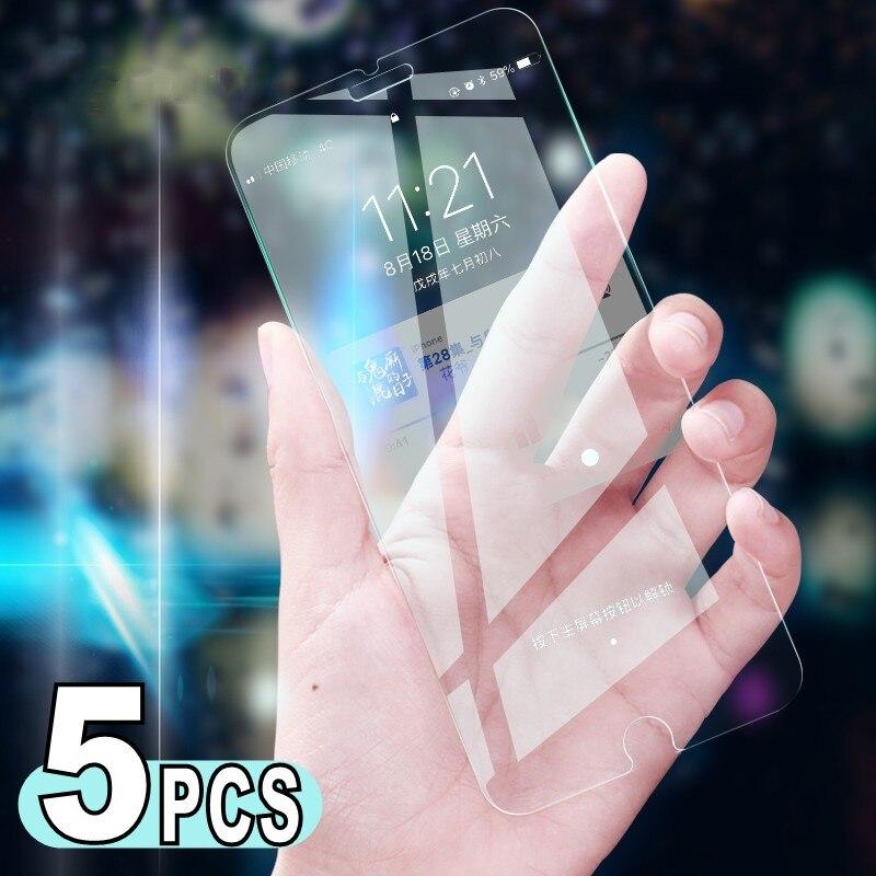 Protecteur d'écran pour iPhone, 5 pièces, Film de protection en verre trempé de qualité supérieure pour modèles 6 6S 7 Plus 8 5 5s SE 12 11 Pro mini XS MAX XR X 8 SE 2020