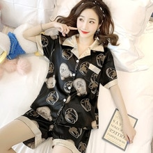Été fille 2 pièces Pijamas costume vêtements de nuit vêtements de nuit imprimer dessin animé Satin pyjamas ensemble à manches courtes femmes mignon sommeil ensemble Homewear