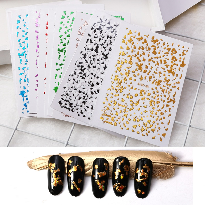 4/12 uds, adhesivo dorado para uñas, adhesivo para la decoración de uñas color rosa, plateado y negro, puntas de papel de aluminio DIY