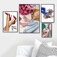 Affiche et imprimes de mode de decoration nordique  Style chaussures a talons hauts  peinture sur toile dart mural  cadre de decoration de maison