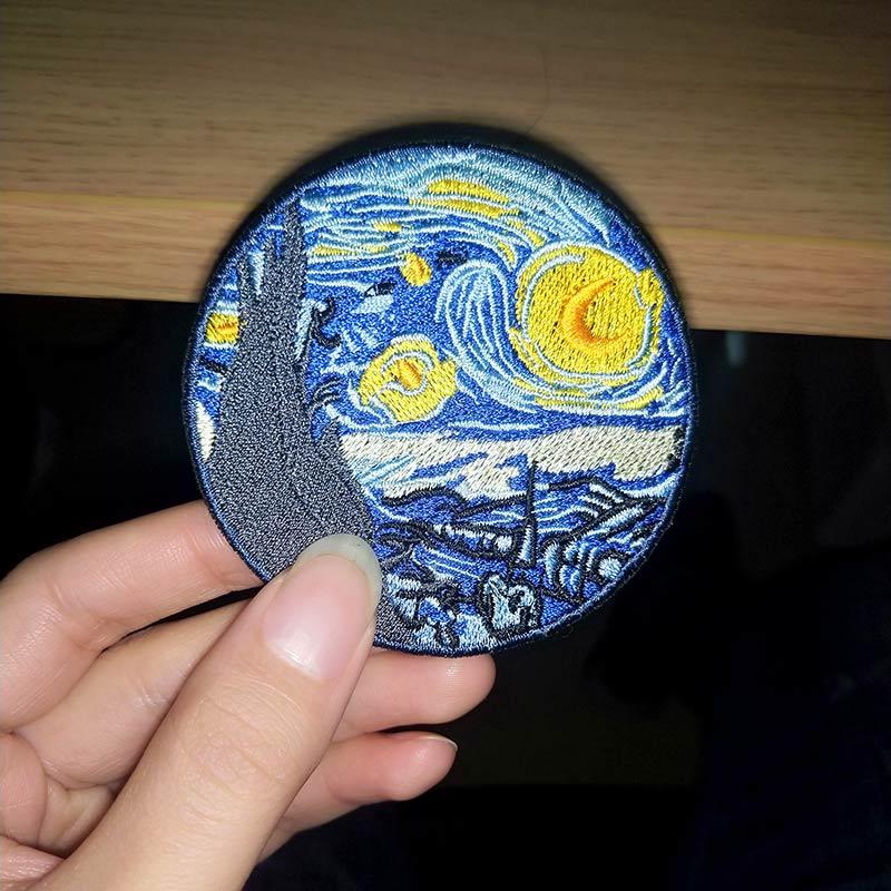 DIY Thermo pegatinas en la ropa de rayas Mona Lisa parche Van Gogh rompiendo mal extraño cosas parche arte Parches para la ropa