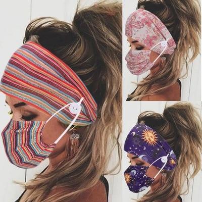 2 pièces/ensemble bandeau cheveux en tissu Turban accessoires cheveux avec bouton boucle élastique Yoga bandeau bandeau accessoires cheveux de gymnastique