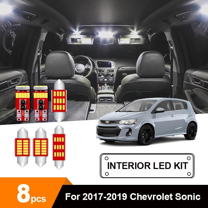 8 светодиодных ламп белая автомобильная светодиодная интерьерная с Canbus для чтения карты светильник комплект для 2017-2019 Chevrolet Sonic зубная щётка...