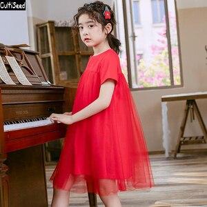 Girls Red Dress 2020 Big Children Girl Summer Cotton Patchwork Mesh Princess Party Dress Kids Cute Ball Gown Dress Girls Dresses