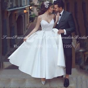 2020 Ankle Length Wedding Dress With Appliques White Satin Spaghetti Strap A Line Formal Bridal Dresses Gown Vestido De Noiva