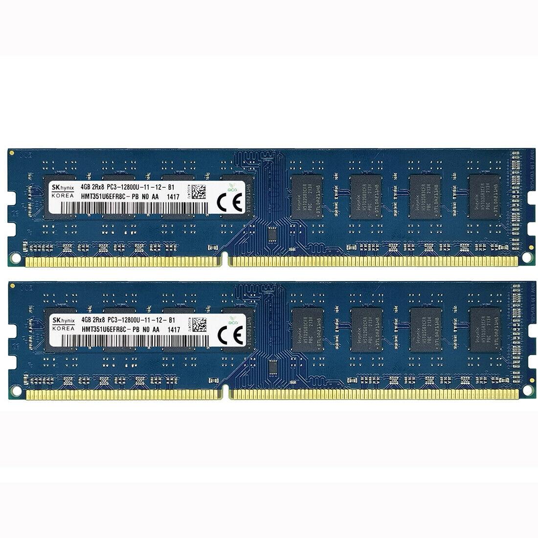 Hynix 8GB kit 2X4GB DDR3-1600MHZ 1333MHZ PC3-12800U PC3-10600U 240PIN memoria de escritorio...