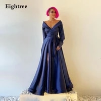 navy blue long a line v neck evening dresses long sleeves formal gowns sashes side slit simple arabic prom night party dress