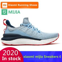 Original Xiaomi Mijia Sneakers 4 Men's Outdoor Sports  Uni-moulding 4D Fishbone Lock System Knitting Upper Men Running Shoes