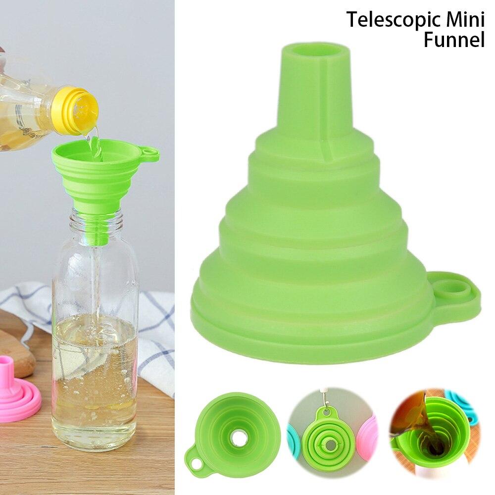 Silicone dobrável telescópica longo pescoço funil criativo casa dispensação de líquido mini funil ferramentas de cozinha