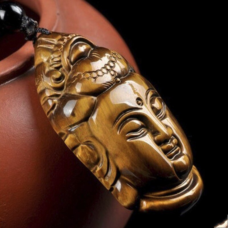 Colgante de piedra de ojo de tigre amarillo Natural colgante de cabeza...