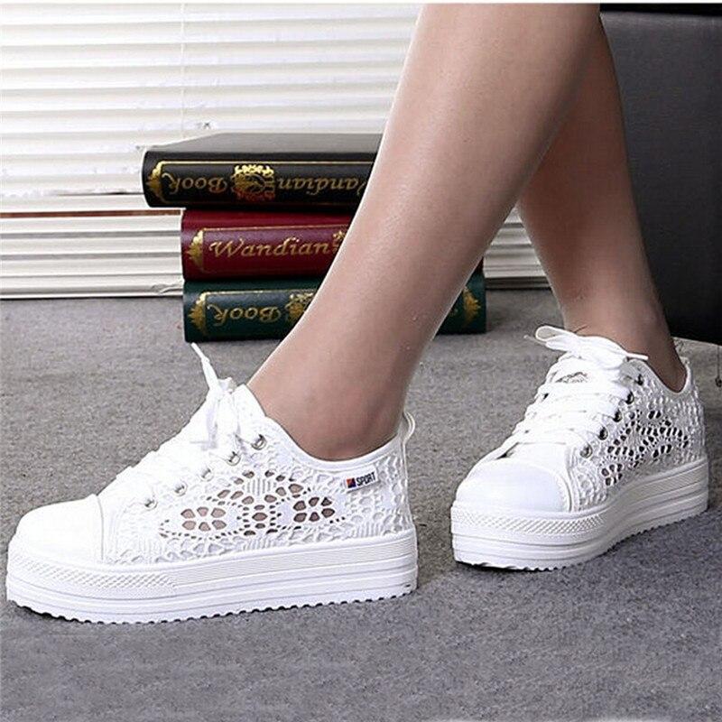 Women Shoes 2020 Fashion Summer Casual White Shoes Cutouts Lace Canvas Hollow Breathable Platform Flat Shoes Woman Sneakers