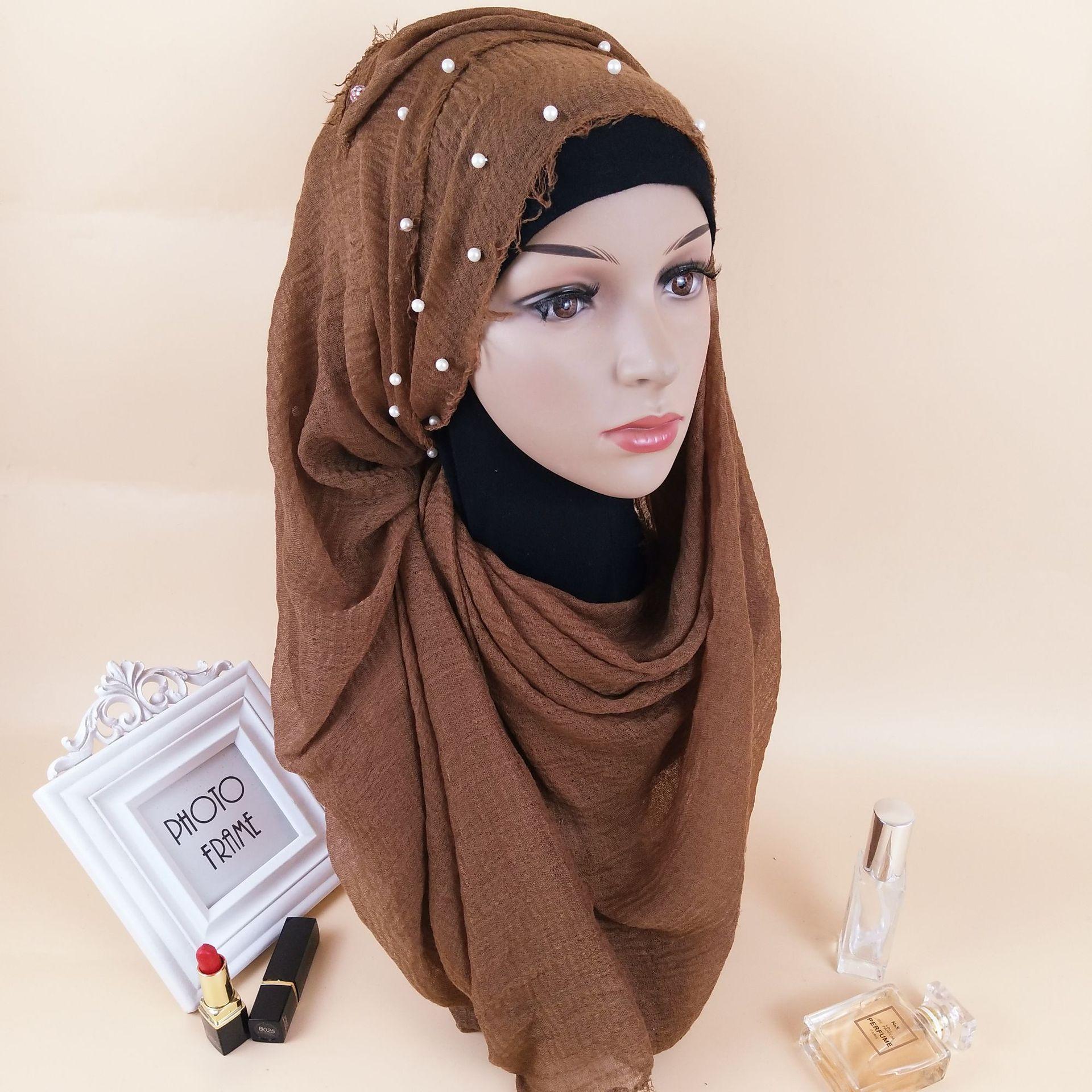 Suave arruga Hijab bufanda de algodón con cuentas musulmana mujer cabeza bufandas chales ropa islámica cabeza envuelta pañuelo árabe cabeza bufanda