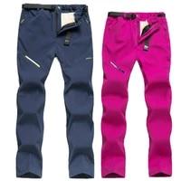 winter warm fleece ski hiking pants women men thick elastic trousers outdoor sports new waterproof pant trekking camping fishing