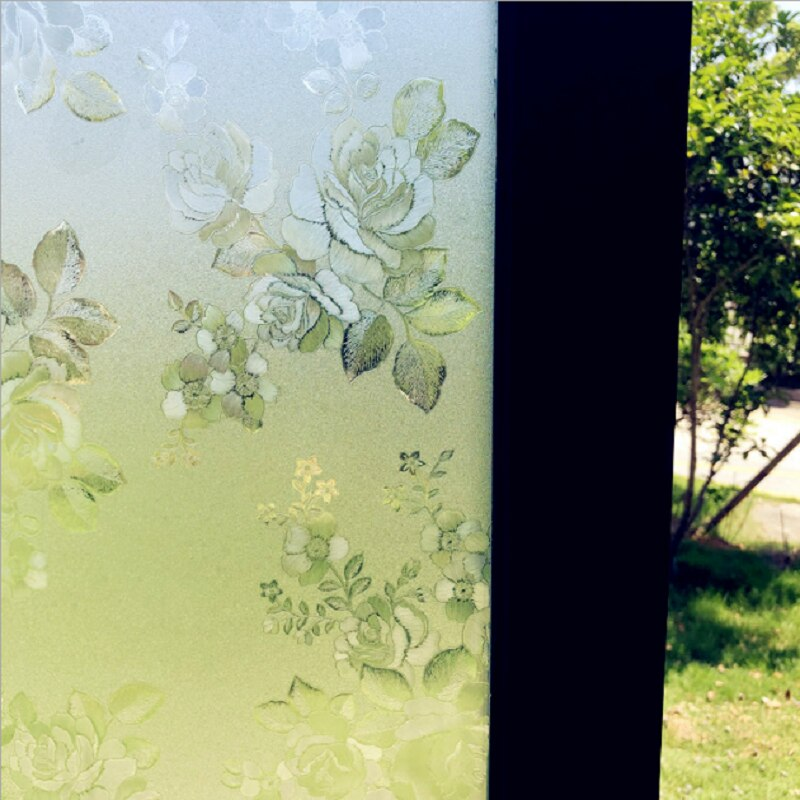 Autocollant en verre à motif de Rose chinoise   Décoration de la maison, Protection de la vie privée, amovible antidéflagrant, feuille de fenêtre givrée