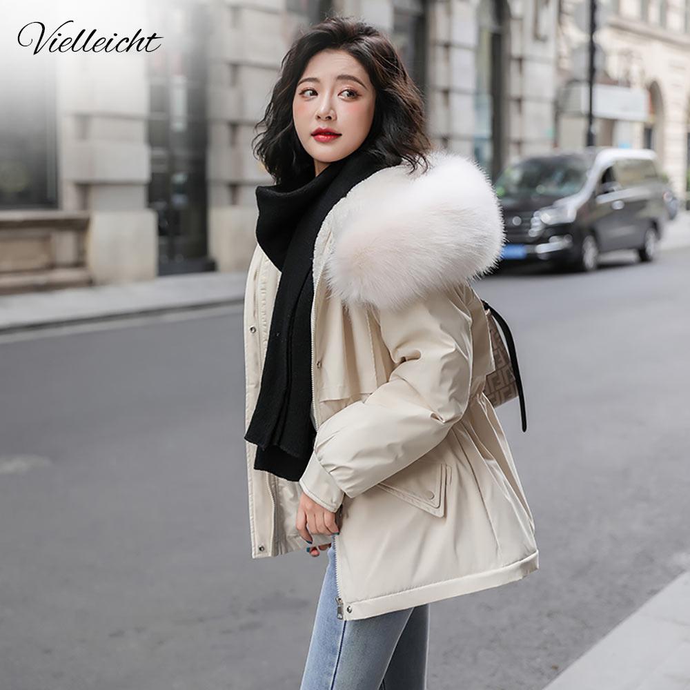 Теплая зимняя женская куртка Vielleicht, однотонная Свободная куртка с меховым воротником и капюшоном с хлопковой подкладкой для женщин, повсед...