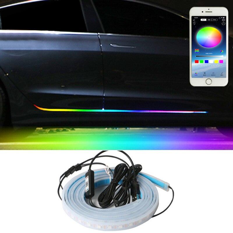 Tcart-Tira de luces led rgb para puerta de coche, accesorios de iluminación...