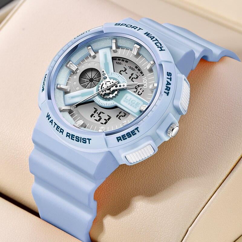 LIGE Luxury Sport Women's Watches 5ATM Waterproof Dual Display Analog Digital Fashion Quartz Watch Female Clock Relogio Feminino