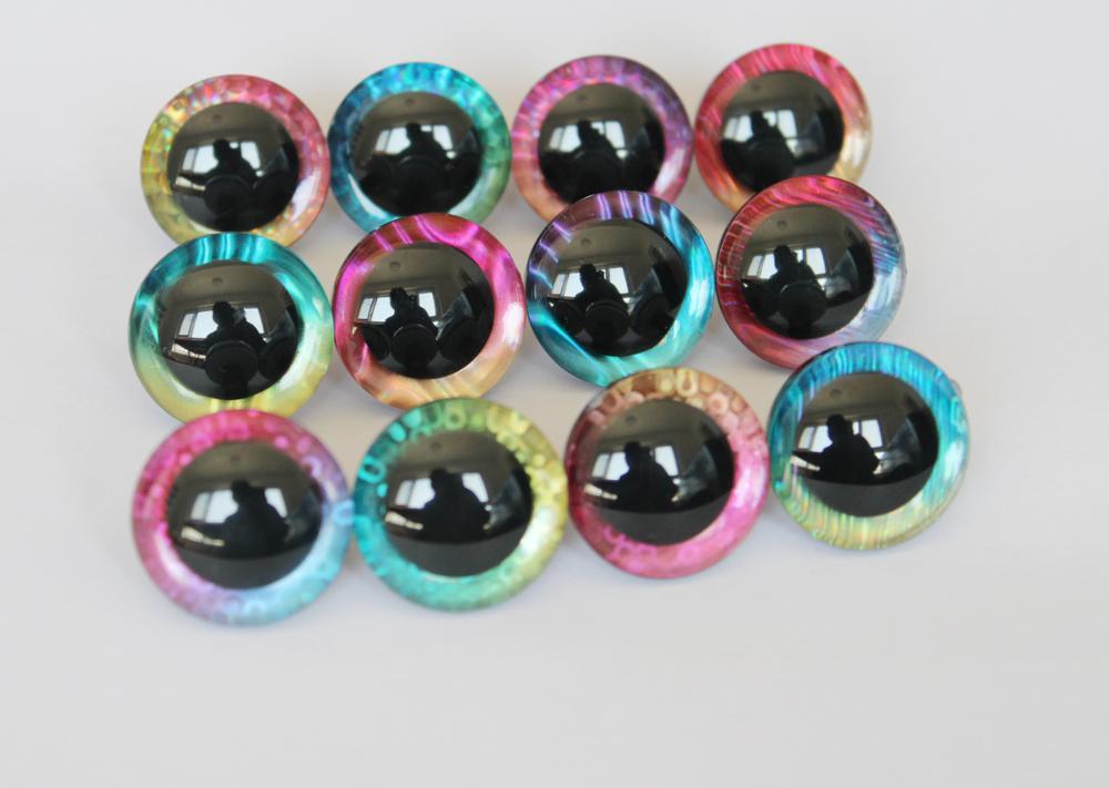Ojos de muñeca de seguridad 3D, 20 unids/lote, L12, 12mm/14/16/18/20/25/30/35mm, nuevo juguete...