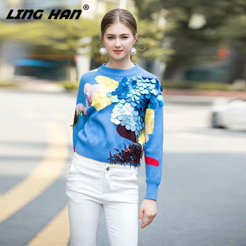 LINGHAN moda lentejuelas azul pulóver sudadera para mujer cuello redondo manga larga suéter de punto fino otoño invierno nuevo