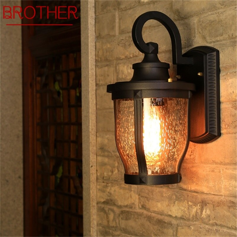 BROTHER Retro Outdoor Wall Sconces Lights Classical Loft LED Lamp Waterproof IP65 Decorative For Home Porch Villa