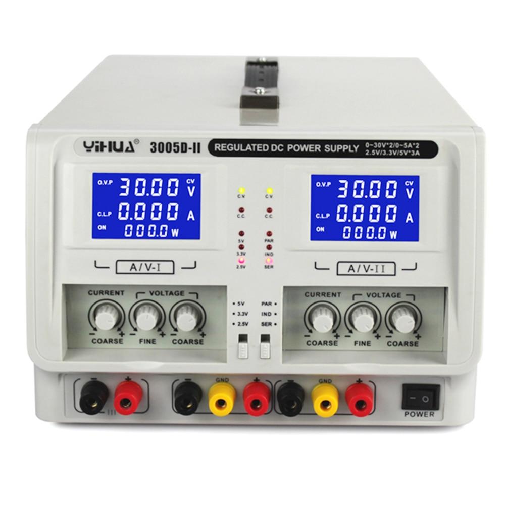 YIHUA 3005D-II Regulated Laboratory DC Power Supply Dual Channel Triple Output 30V 5A Voltage Regulators Adjustable Power Supply enlarge