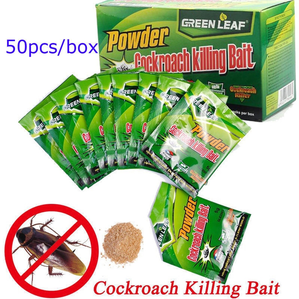 50pcs Roach Pest Control Supplies Cockroach Killing Bait Effective Powder Repeller Garden Trap Kille