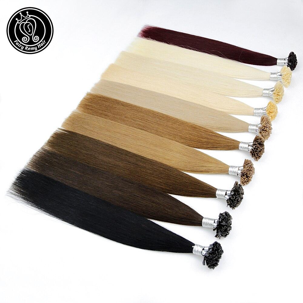 Сказочные волосы Remy 0 8 г/локон 18 &quotU Tip кератиновые Предварительно Связанные для