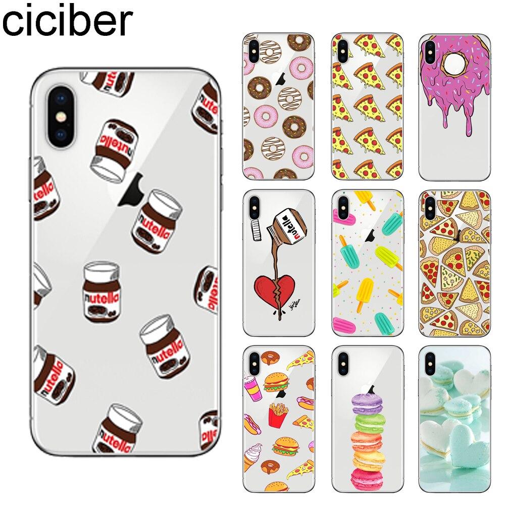 ciciber Cute Cartoon Food Macaron Sushi iPhone 11 Pro Max 7 8 6 6S Plus 5S SE X XR XS Max TPU Cover Soft TPU Coque Phone Cases
