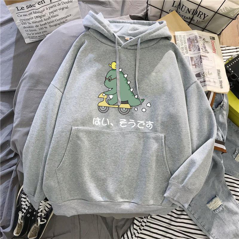 Cute Dinosaur Print Sweatshirts Women Cartoon Hoodies Pullover Harajuku Girls Teens Hoodies Autumn Kawaii Loose Gray Sweatshirts