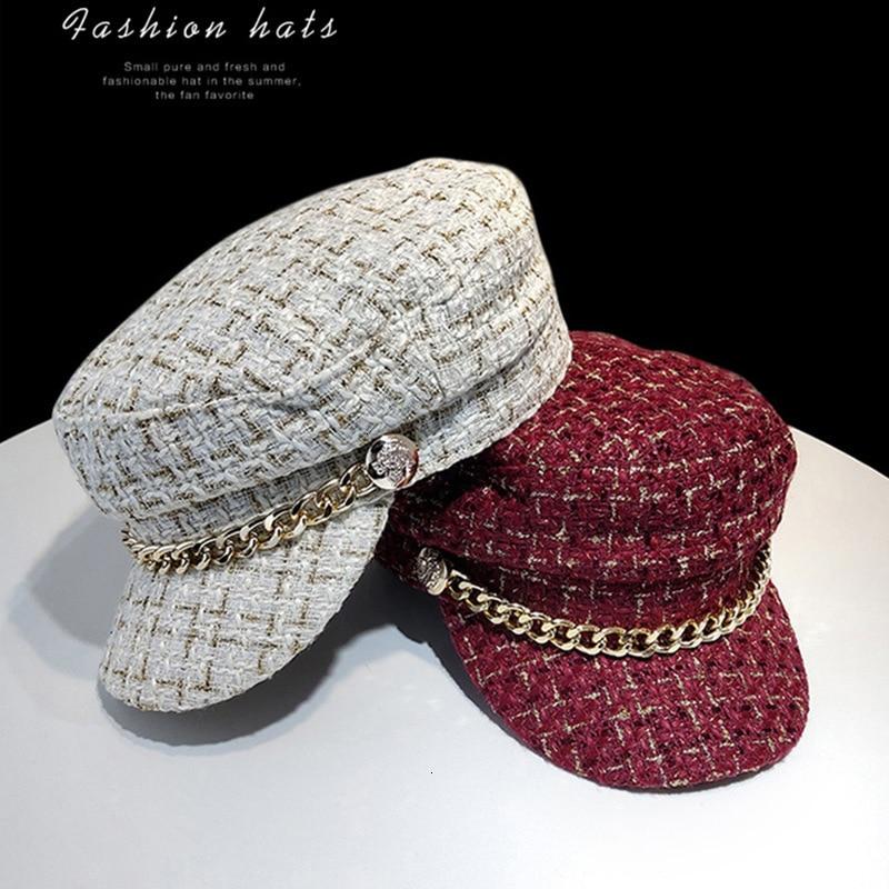 New female classic hat military cadet truck driver pointed cap city cap adjustable cap chain navy cap